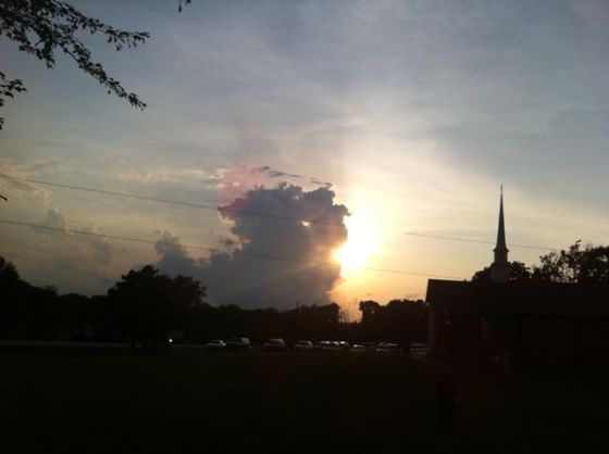 sunset at church